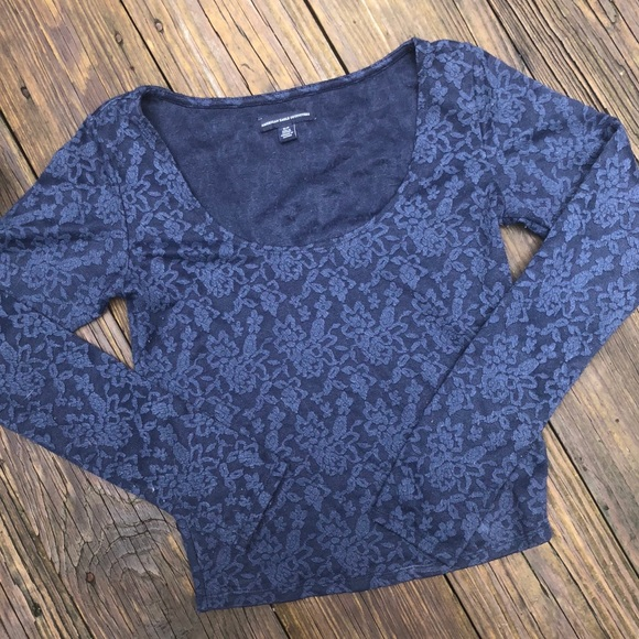 a981f55486888 American Eagle Outfitters Tops - American Eagle Navy Lace Long Sleeve Crop  Top